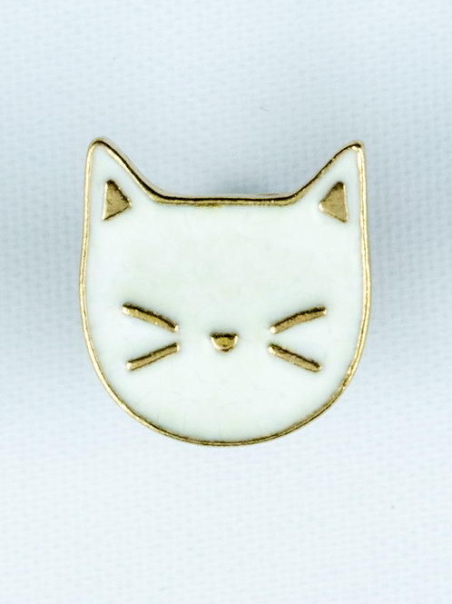 White Cat Face Enamel Pin