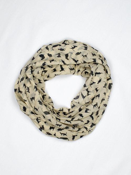 Chiffon Cat Print Scarf - Classic Beige, circle wrap
