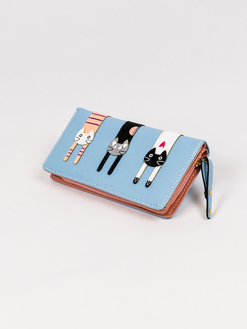 Three Cats Wallet - Sky Blue, close, front view