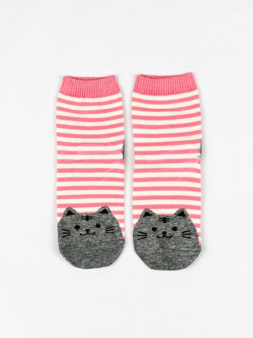 Fat Cat Socks - Pretty Pink front view