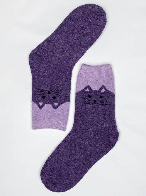 Happy Kitty Wool Socks - Purple
