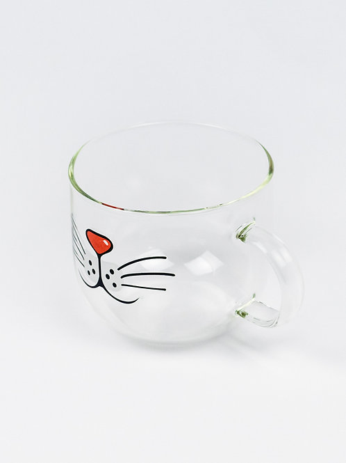 Cat Face Glass Mug side view