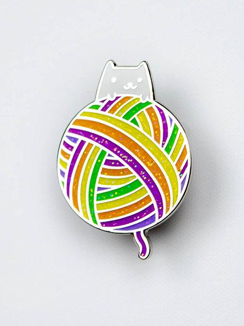 Rainbow Yarn Kitten Enamel Pin