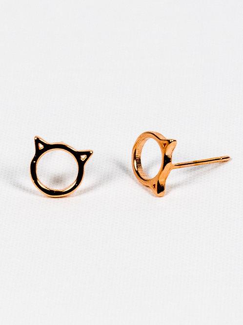 Cat Ears Earrings - Rose Gold Side View