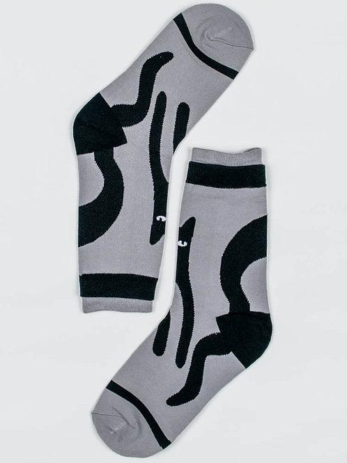 Artsy Cat Socks - Grey
