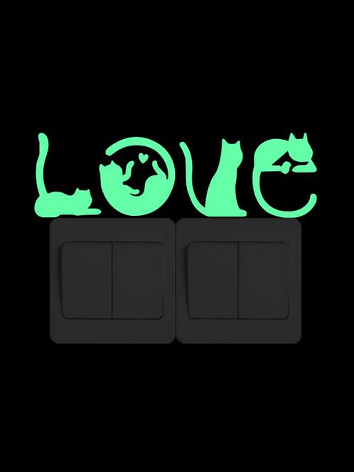 Love Cats Luminous Light Switch Sticker