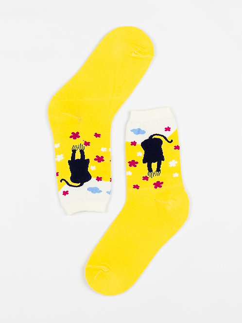 Bold and Bright Yellow Cat Socks