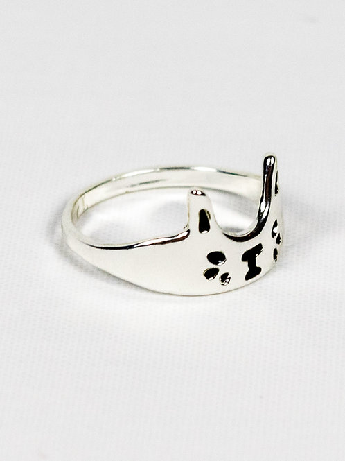 Crown Cat Ring - Silver side view
