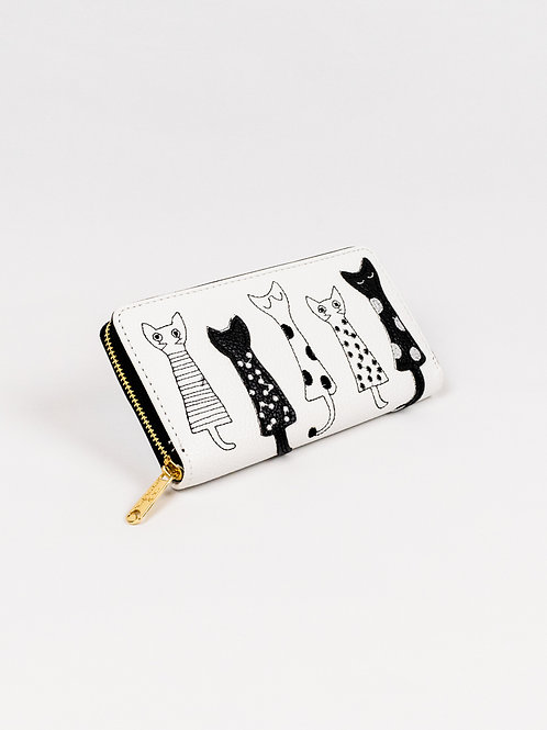 Crafty Cats Wallet - Creamy White, closed, front view