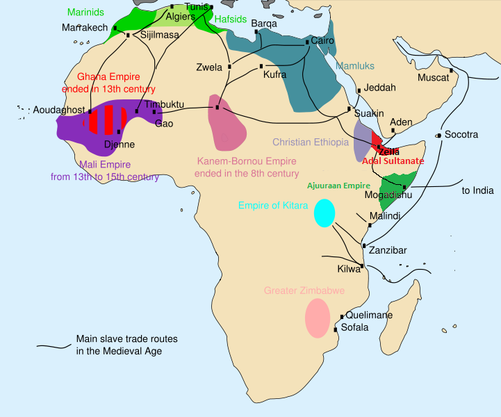 Map of the African Slave routes in 1300 AD