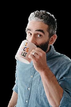 Bassam Tarazi sipping tea