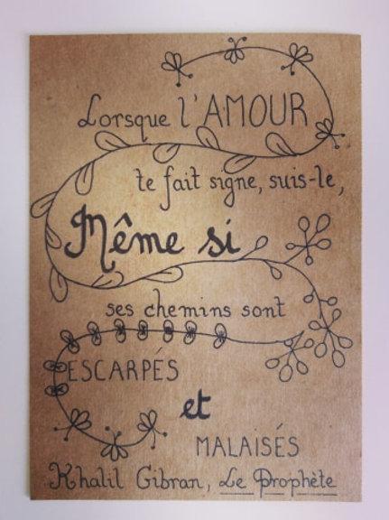 """Carte kraft """"Lorsque l'Amour te fait signe..."""" + enveloppe kraft"""