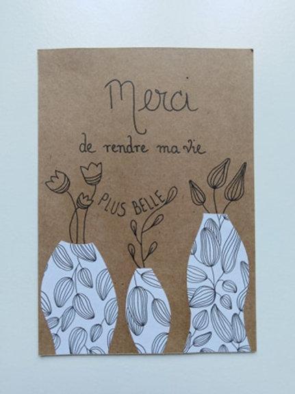 "Carte ""Merci de rendre ma vie plus belle""  + enveloppe"