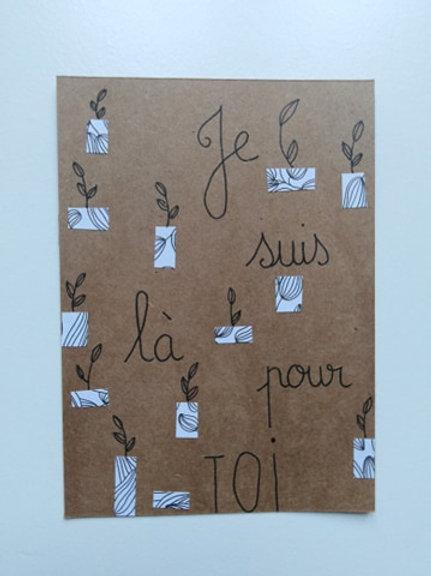 """Carte """"Je suis là pour toi""""  + enveloppe"""