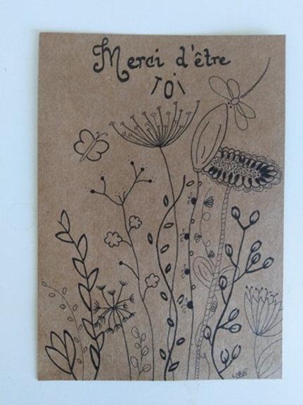 "Carte kraft ""Merci d'être Toi"" + enveloppe kraft"