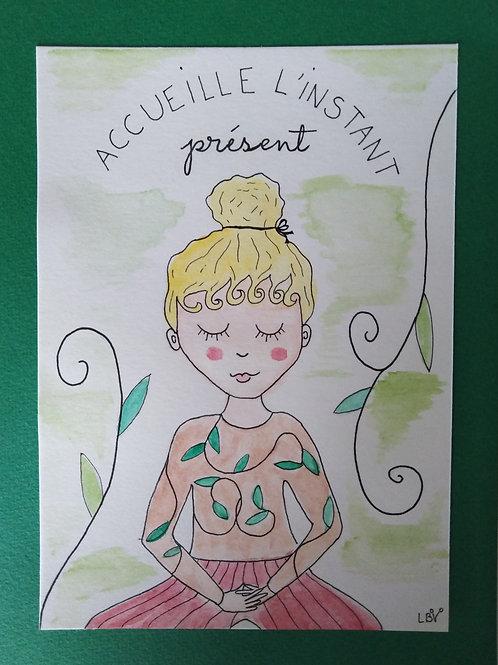 """Aquarelle """"Accueille l'instant présent"""" + enveloppe"""