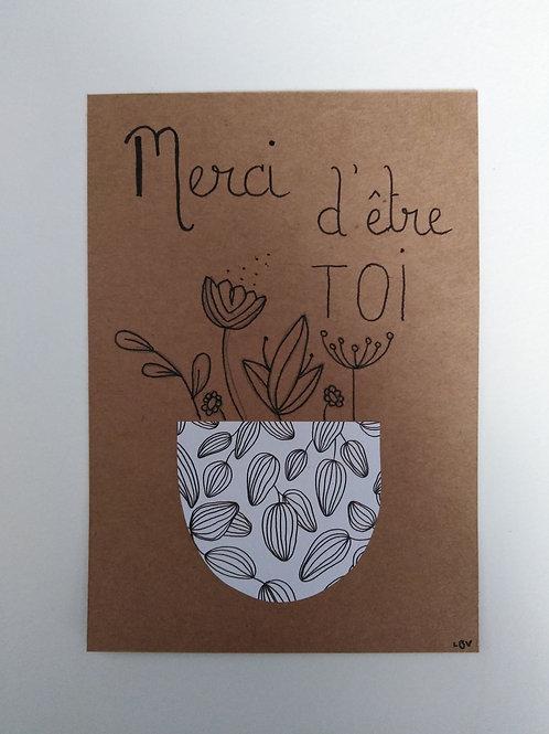 "Carte ""Merci d'être toi""  + enveloppe"