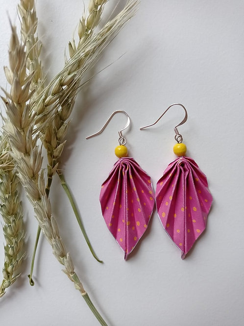 Boucles d'oreilles feuilles origami