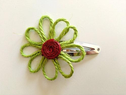 Pince clic-clac fleur jute vert/bordeaux