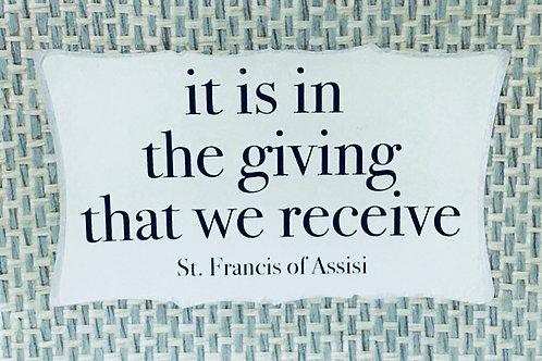 It is in Giving...