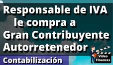 Responsable de IVA (Régimen Común) compra a Gran Contribuyente Autorretenedor IVA Retefuente Reteica
