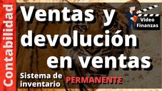 Contabilizar Ventas y Devoluciones en Ventas. Sistema de inventario Permanente Asiento Contable
