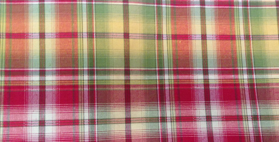 French Country Plaid Fabric - Red, Yellow, Green
