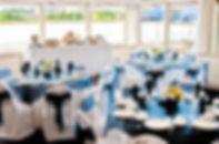 Banquet Room set for wedding overlooking Neoponset River