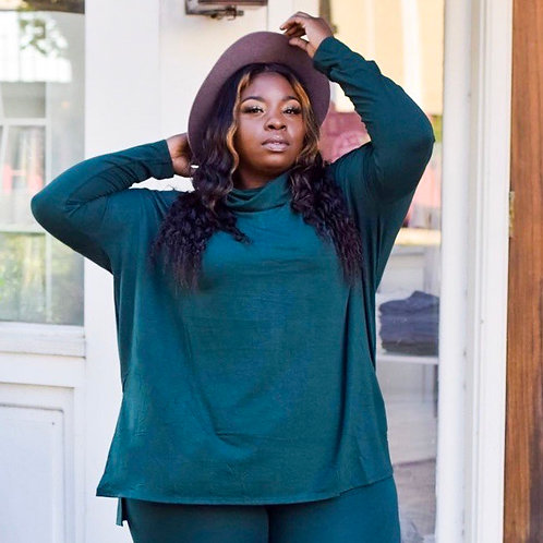 Hunter Green Turtleneck - 3X Top Only