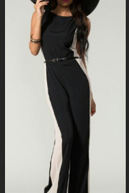 Madeline | Black with Nude Sides Jumpsuit