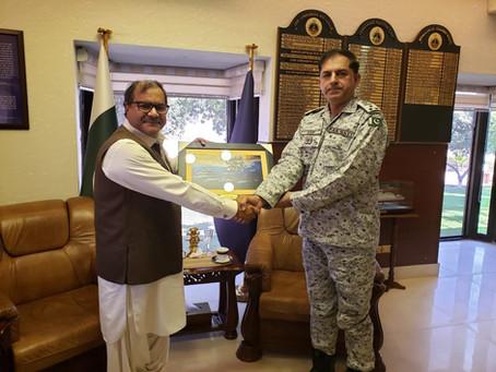 Commander Pakistan Fleet meets Ahmed Iqbal Baloch