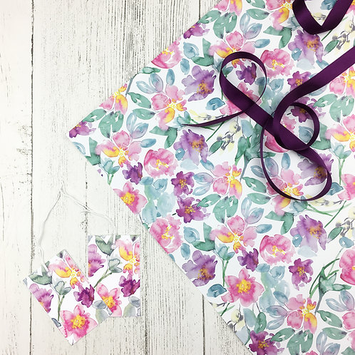 Peony Floral Wrapping Paper (2 sheets)