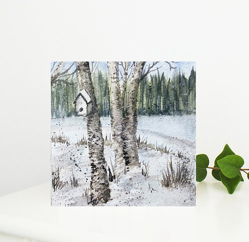 'Winter Wishes' Watercolour Greetings Card