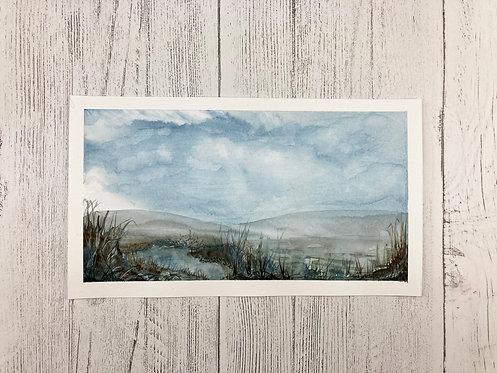 Misty Moorland Watercolour Original