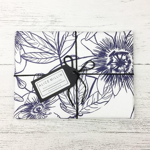 Passion Flower Hand Screen Printed Tea Towel