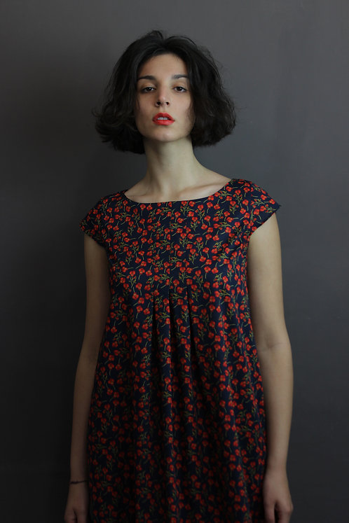 Liberty red flowers dress