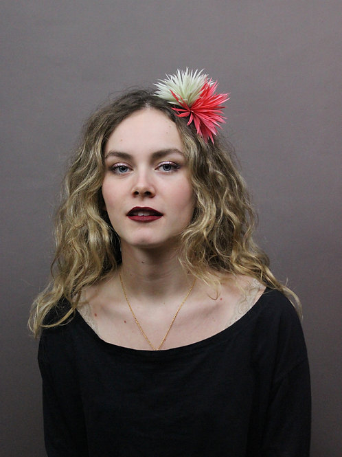 Fireworks feathers headband -green/coral-