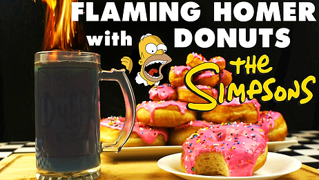 FLAMING HOMER (MOE) with DONUTS from THE SIMPSONS