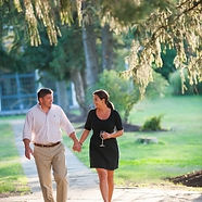 Couple walking the paths on over 113 acres at Winvian Farm, Morris CT