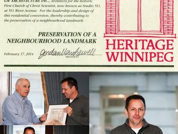 Heritage Winnipeg Award Special President's Award!