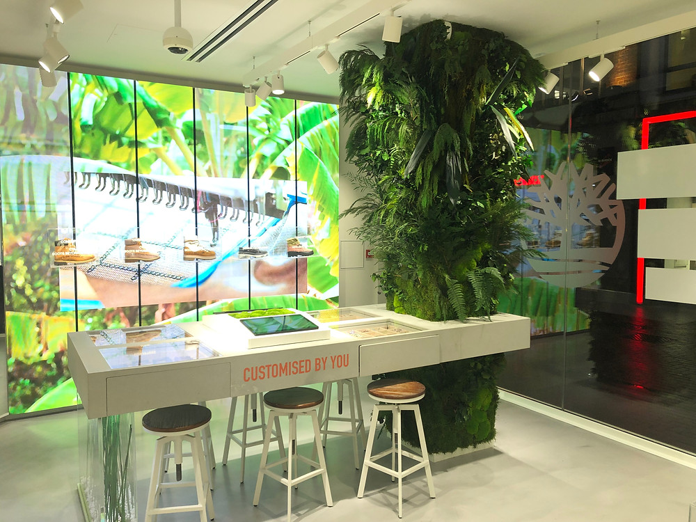Preserved plant green wall column for Timberland's nature inspired biophilic retail store in London