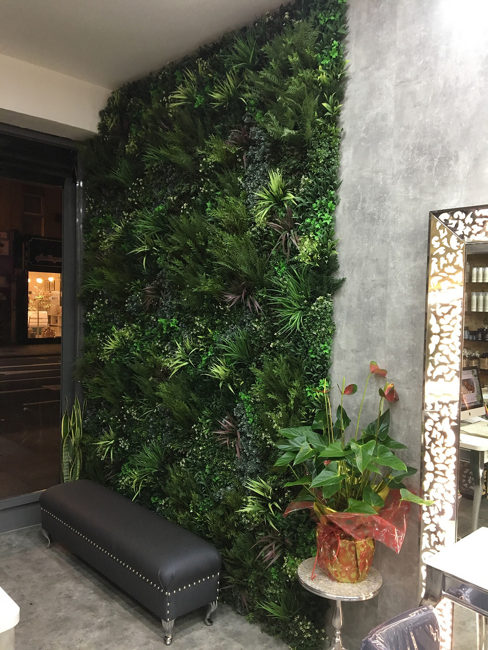 Artificial Green Wall installed in a London salon
