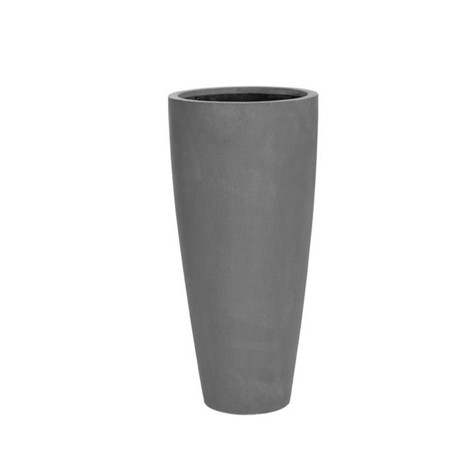 Tall Grey Modern Round Planter for offic
