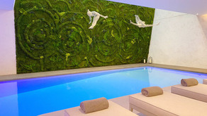 Serene Biophilic Moss Wall for a Pool Interior