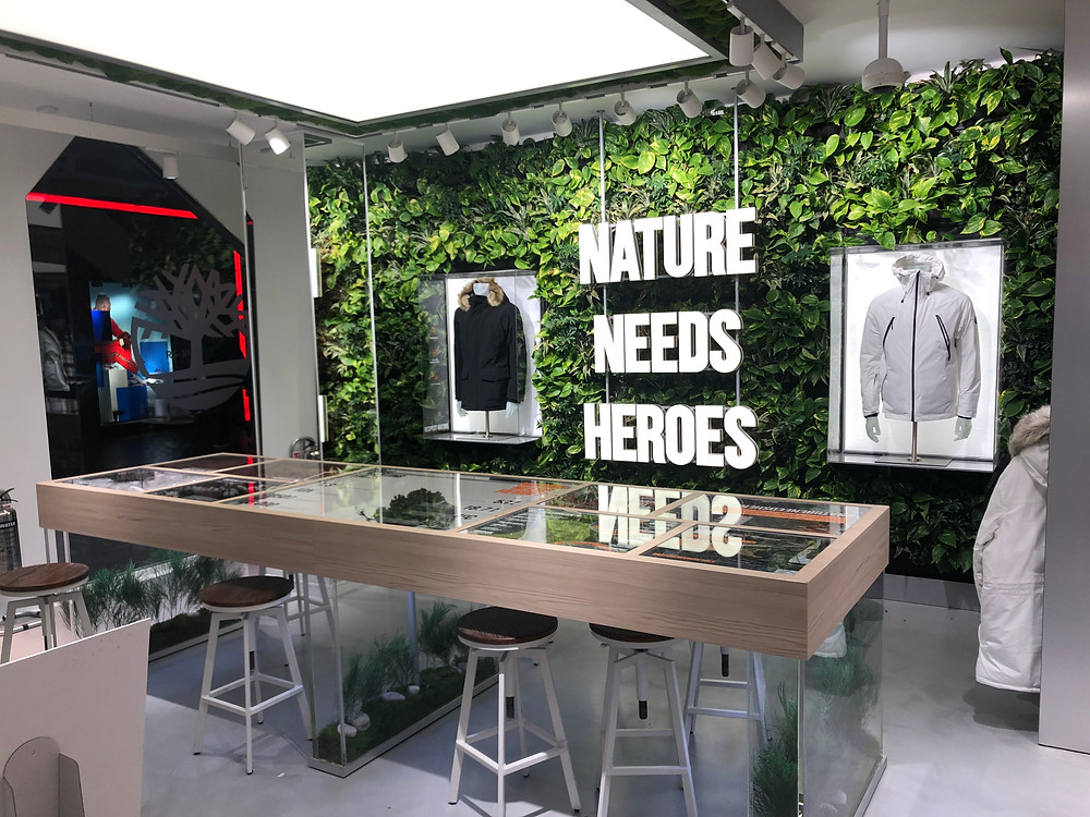 Interior Landscaping retail display living wall for Timberland London