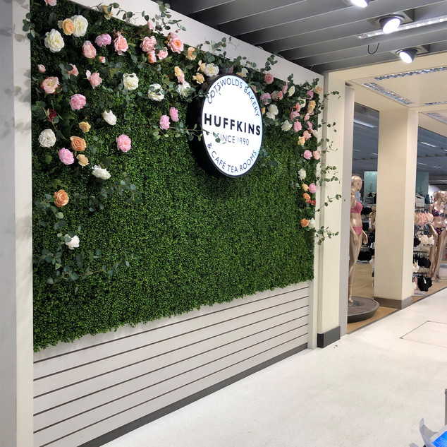 Artificial Boxwood & Flower Wall Installation