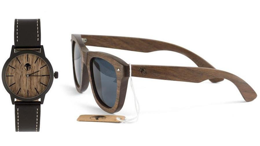 Men's Walnut Wood Watch and Sunglasses Set