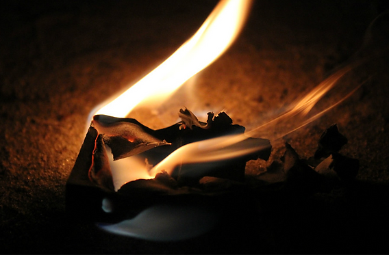 burning note
