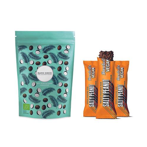 Premium Bio Kokoschips + 3x BAREBELLS Protein Riegel Salty Peanut Vegan