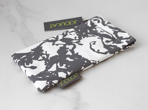 100% Cotton Glasses Case with Flex Frame in Grey Seaweed Design